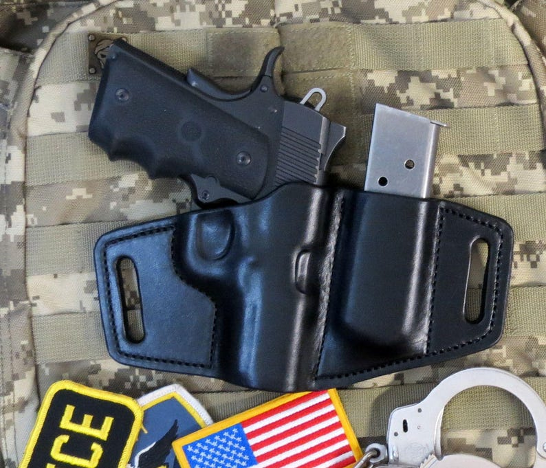 Survival Series Kimber Ultra Carry II, 3 5 inch Barrel, Leather Holster  with Magazine Holder and Sweat Shield