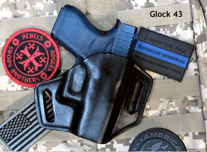 Glock 43 OWB Leather Pancake Holster, Forward Cant, Handmade Custom
