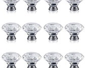 10pcs 40mm Clear Glass Crystal Diamond Shaped Cabinet Door Knob Drawer Pull Handle US SELLER with Fast Shipping