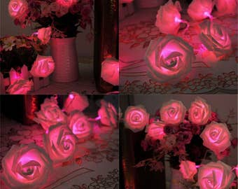 Pink fairy lights etsy pink rose flower fairy string lights 20 leds 22m722feet wedding garden party christmas decoration pink us seller mightylinksfo