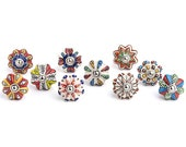 Set of 10, 12, 20, Flower Knobs, Colorful Multi Design Ceramic Cabinet Knobs, Drawer Pulls, Fast Shipping