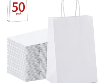 50 Pack White Kraft Paper Bag With Twisted Handle 5.25x 3.25 x 8.375