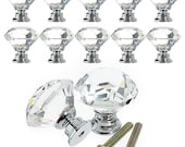 8 - 10 - 12 Pcs 30mm Diamond Shape Crystal Glass Cabinet Knob U.S.A. SELLER with Fast Shipping