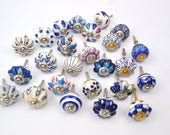 Set of 25 Blue and White hand painted ceramic pumpkin knobs cabinet drawer handles pulls USA SELLER Fast Shipping