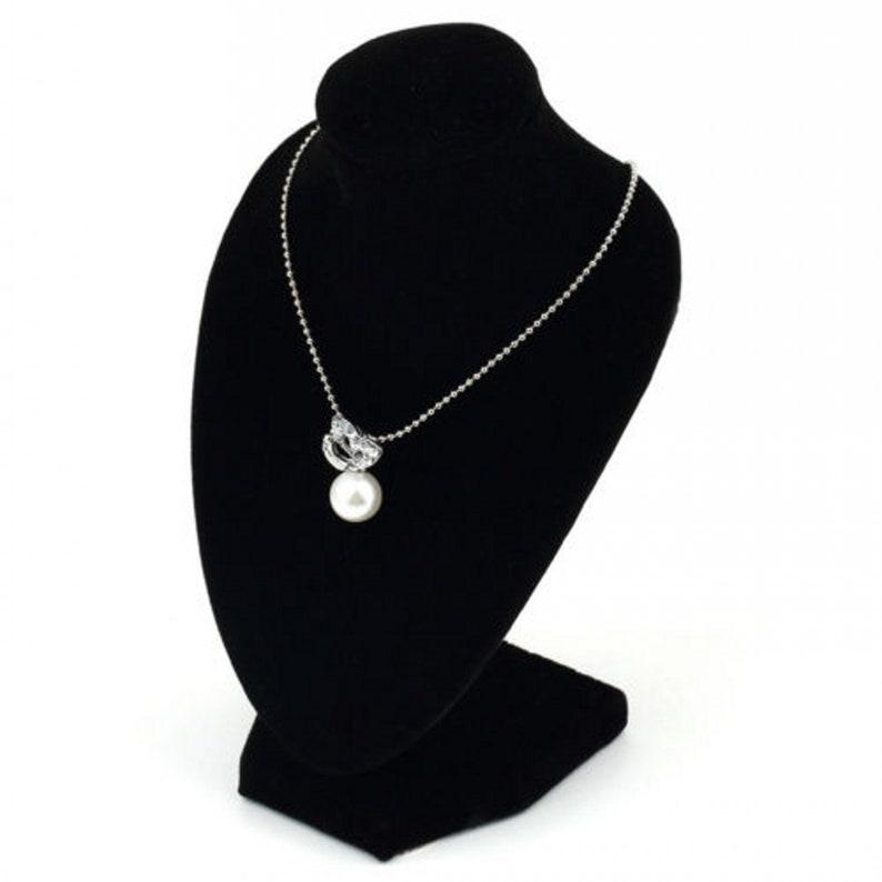 ce295b71066 Black Velvet Jewelry Necklace Bust Earring Display Holder
