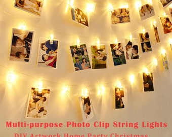 50 LED Photo Clips String Lights/Holder, Battery Powered  Photos Pictures Cards USA Seller
