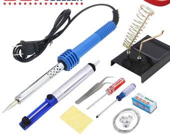14 in 1 KIT 60W Electric Soldering Iron Starter Tool Kit Set Desolder Pump U.S.A. Seller
