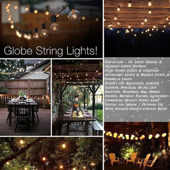 G40 String Lights 25 Globe Bulbs Indoor, Globe Outdoor Lights String
