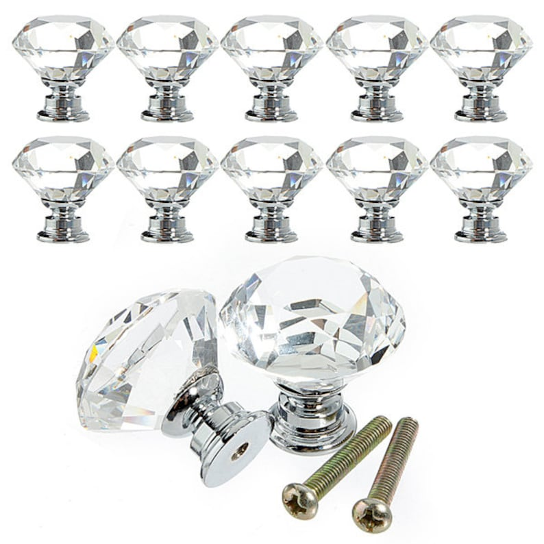 10Pcs  Crystal Glass  Cabinet Drawer Cupboard Pulls Handles Knob  30mm US SELLER with Fast Shipping
