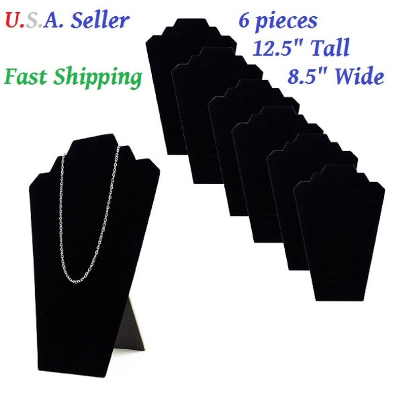 53457e3326f 6pcs 12.5 Black Velvet Jewelry Easel Display Stand Tower