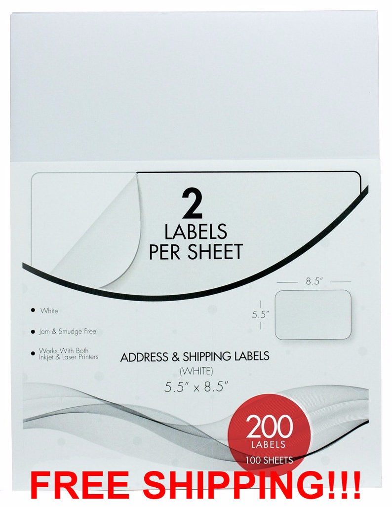 SALE!!! FREE SHIPPING!!! 200pcs Half Sheet Self Adhesive Shipping Labels  for Laser & Inkjet Printers 100 Sheets