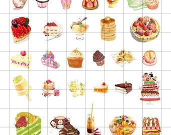 Sweet Desserts #2 Flake Stickers (35 pcs) // N29 // Die Cut Stickers // Planners //  Laptop Stickers  // Scrapbooking Essentials
