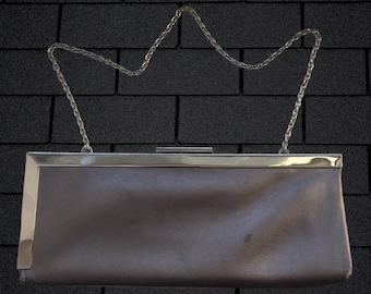 593852585d9f Vintage 90 s Calvin Klein Silver Leather Bag • Unique Asymmetrical Chrome  Frame • Use as Clutch or with Chain Strap