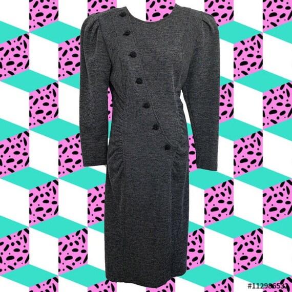 Super 80's All That Jazz Grey Tweed Dress • Diagon