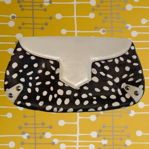 b7ce4e1983af Vintage 90 s Dotted Fur   Ivory Leather Bag Use as