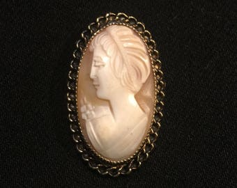 Vintage 1960's Cameo • 1/20 12KGF • Stamped Catamore • Brooch or Necklace (has loop) • Amazing Condition!