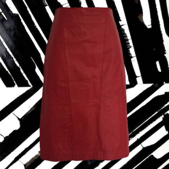 Vintage 80's Red Leather Skirt • from Wilsons Leat