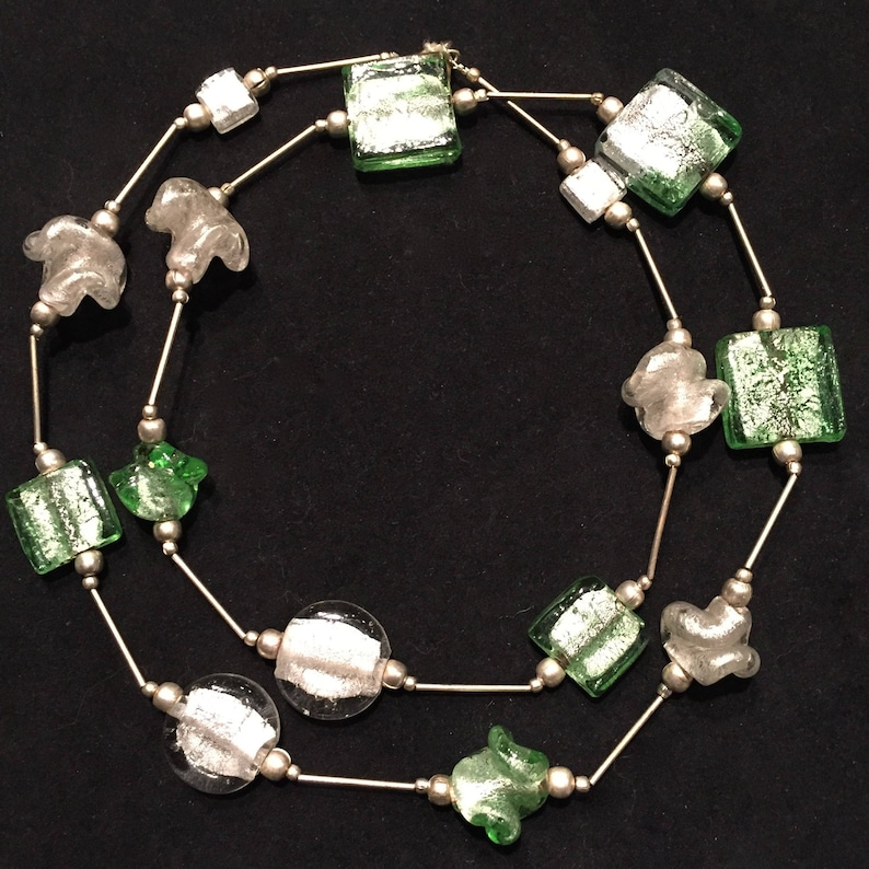 Vintage 80/'s White and Green Glass Beaded Necklace \u2022 from Kenya \u2022 Geometric and Scrunched Beads Metallic on the Inside \u2022 Silver Tube Beads