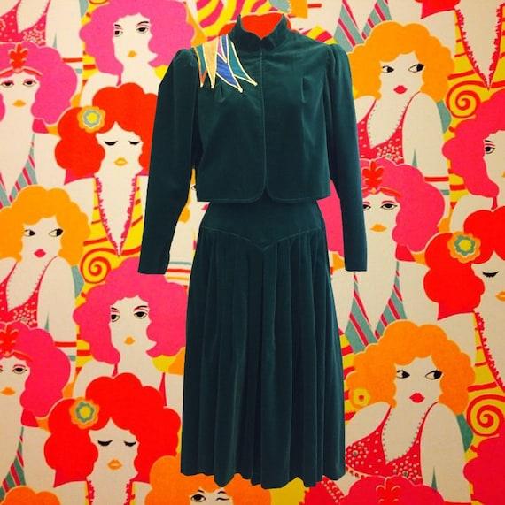 Vintage 1970's Velvet Skirt Suit • by Gideon Obers