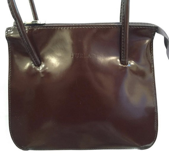 91ef4c99a917 1990 s Furla Bag Shiny Brown Leather Simple Clean