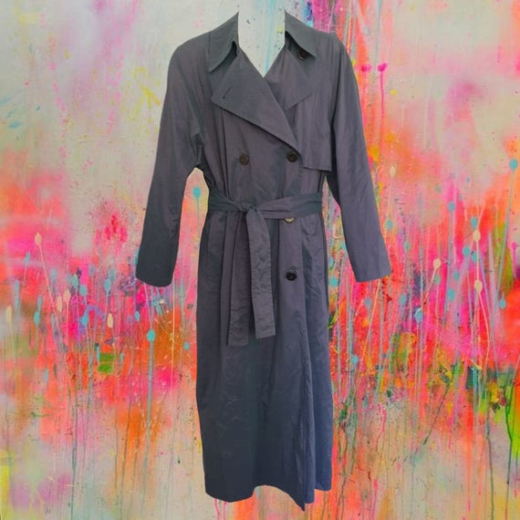 Vintage 80's London Fog Trench Coat • Iridescent In Grey/Blue/Purple • Drop Shoulder W/Light Shoulder Pads • Belted Waist • Great Condition! by Etsy