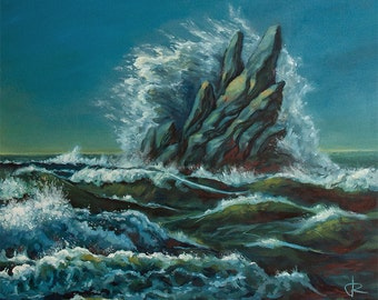 "High Tide, Sea Ocean Waves Landscape 29 x 20"" oil painting on canvas."