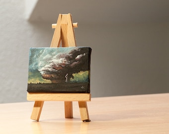 Storm clouds. Hand painted Landscape Oil Painting on Minicanvas. Home & Office decor gift.