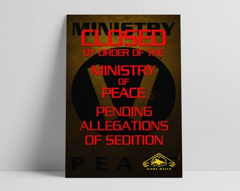 Babylon 5 - Nightwatch / Ministry of Peace closure notice sci-fi poster. TV show. Geek gift. Geek Decor.