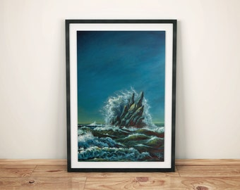 High Tide, Sea Ocean Waves Landscape, Wall Art, Art print, Fine Art Giclee Print, High Quality 240g matte acuarelle paper