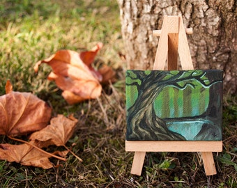 Fantasy Forest. Fine art hand painted miniature landscape nature oil painting on canvas. Home & Office decoration gift.