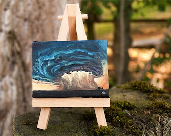 Storm clouds.  Original art, Hand painted, Hand made, Landscape painting, Oil Painting on canvas, Home & Office decor gift.