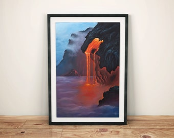 Cyclops, Fantasy Volcanic Surreal Sea Landscape, Wall Art, Giclee Print, High Quality 240g matte acuarelle paper