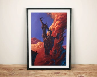 Ascension - Fantasy Art Print, Wall Art, Fantasy print, High Quality 240g matte acuarelle paper