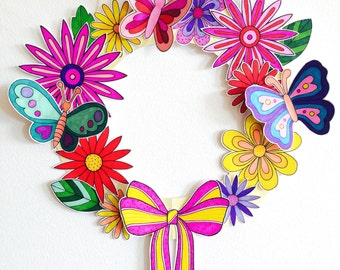 Wreath, Paper Wreath,Summer Spring wreath kit, Papercraft, kids craft, colouring