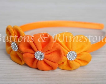 UNIQUE - Stunning orange flower headband with rhinestones - original