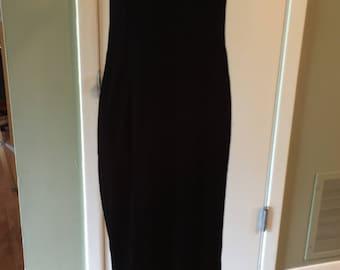 Vintage Black Velvet Evening Dress
