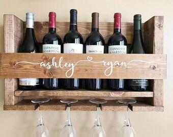 Wooden Wine Rack | Housewarming Gift | Realtor Closing Gift | Wall Wine Rack | Wine Glass Rack | Wedding Gift Wine Rack | Newlywed Gifts