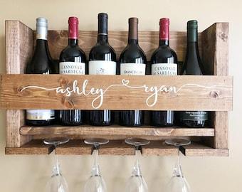 Wedding Gift Wine Rack   Personalized Wedding Gift   Wall Mounted Wine Rack   Rustic Wine Rack   Custom Wine Rack   Personalized Wine Rack