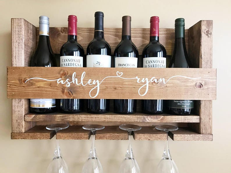 Wedding Gift Wine Rack  Personalized Wedding Gift  Wall image 0