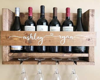 Wine Rack | Unique Wine Rack | 5th Anniversary Gift | Handmade Wine Rack | Wedding Gift Wine Rack | Wall Wine Rack | Wine Glass Rack | Gift