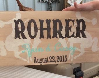 Wedding sign, name and eatablished date, bucking horses, rodeo, western wedding, wedding gift, rodeo wedding