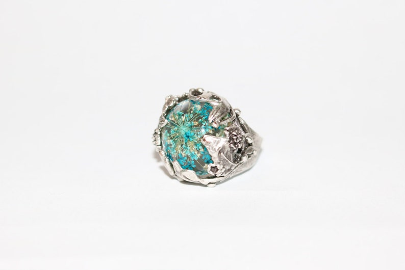Blue Flower Resin and Silver Ring Unique Resin Ring Beautiful Floral Design in Metal Pressed Flower in Resin Silver Plated Brass