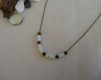 Necklace white and bronze cube beads