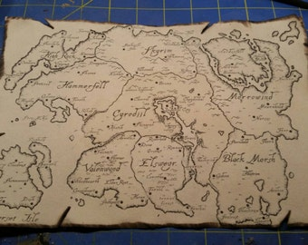 Map of Tamriel, Skyrim, Morrowind, Oblivian, Elder Scrolls Inspired Prop Replica