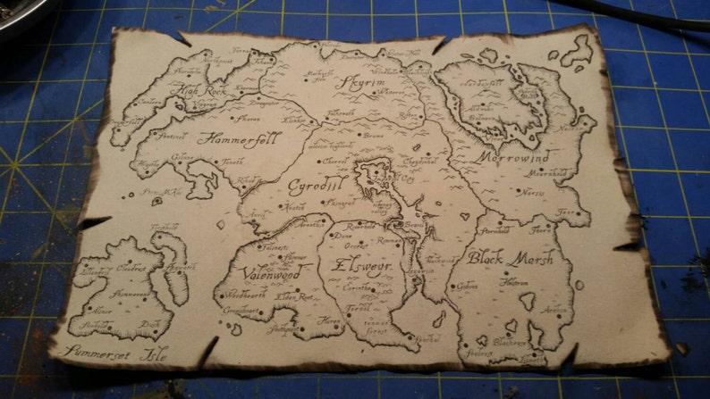 Map Of Tamriel Skyrim Morrowind Oblivian Elder Scrolls Etsy