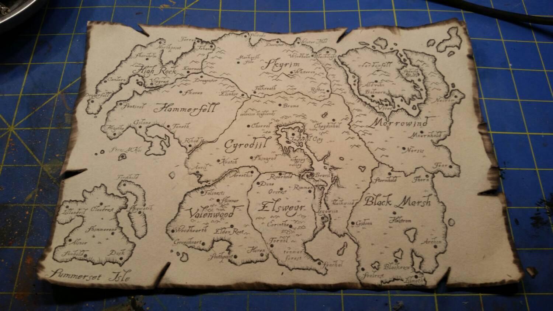 Map of Tamriel Skyrim Morrowind Oblivian Elder Scrolls | Etsy Skyrim Cloth Map on