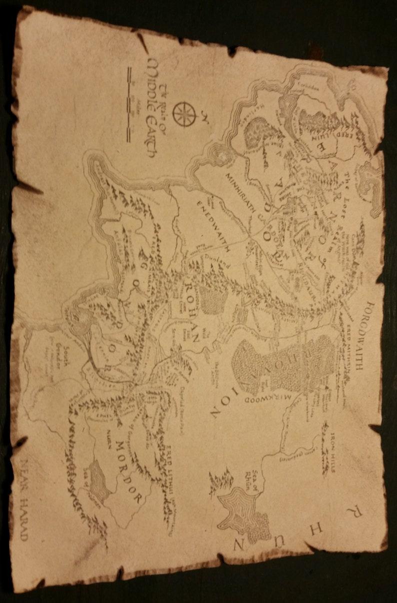 Carte Terre Du Milieu Hd.Seigneur Des Anneaux Hobbit Carte De La Terre Du Milieu Replique Prop Inspiree