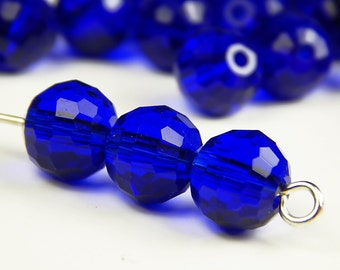 25 Pcs - 8mm Faceted Round Crystal Glass Beads - Sapphire Blue - Cobalt - Crystal Beads - Spacer Beads - Jewelry Supplies
