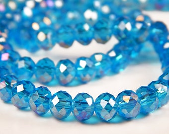 50 Pcs - 3x5mm Blue Glass Rondelle Beads - Glass Beads - Rondelle - Jewelry Supplies