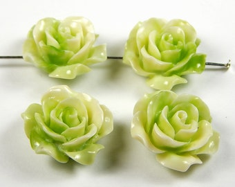 4 Pcs - 20mm Yellow Green Carved Tridacna Shell Pendant Bead - Flower - Focal Beads - Pendants - Jewelry Supplies